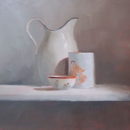 Helen Simmonds Study For Flower Bowl, Oil on paper on board 26 x 32cm