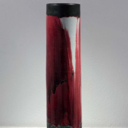Eddie Curtis EC40 Tall Vase, Stoneware with celadon and copper red glazes h53 x 15cm