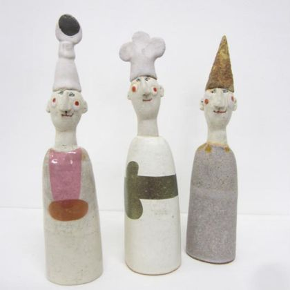 Jane Muir 11a, 11b and 11c. Men in hats, 24 x 6 cm.