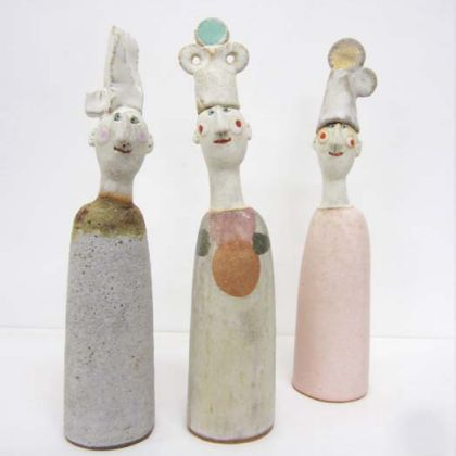 Jane Muir 12a, 12b and 12c. Men in hats, Stoneware 24 x 6 cm.