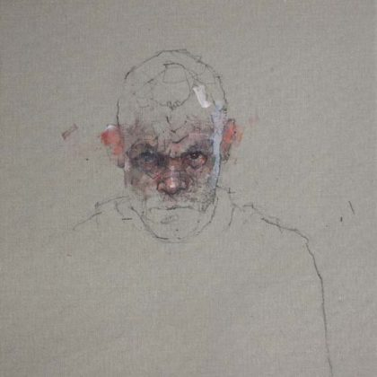 Nathan Ford Self 8.17, Oil and pencil on canvas 28 x 20 cm.