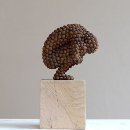 Anna Gillespie sculpture Petite Homage, Bronze Ed. of 9 h18 x 18 x 10 cm +14cm oak base