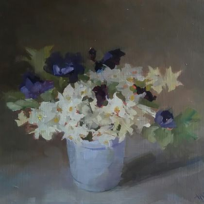 Helen Simmonds Anemones and Paperwhite Narcissus, Oil on board 6 x 17.5 cm.