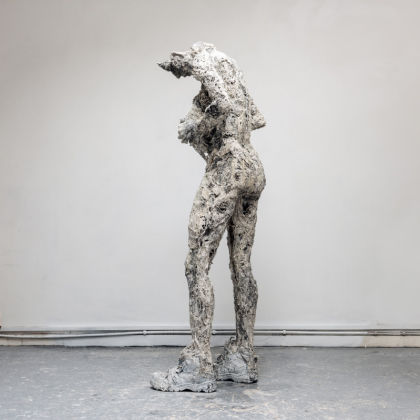 Anna Gillespie Running on Empty, Plaster, resin, mixed media h168 x 64 x 52 cm.