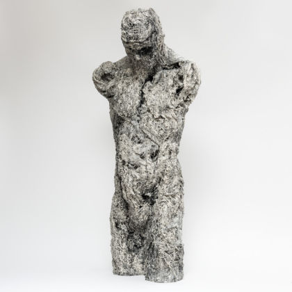 Anna Gillespie Torso-front, Plaster, resin, mixed media 120x53x30cm.
