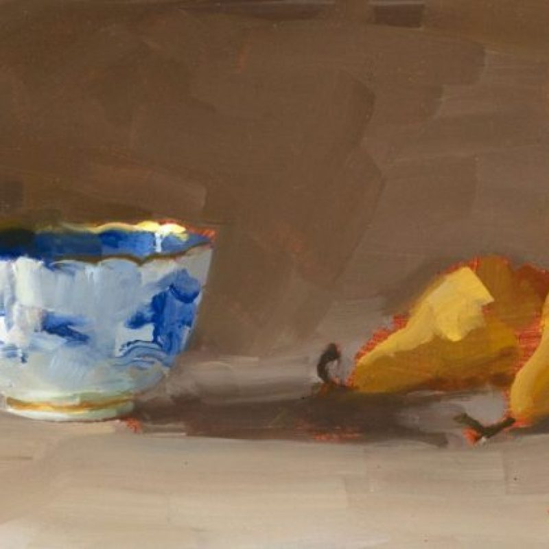 Helen Simmonds Pears and Bowl oil onGessoedPaper 11x21cm