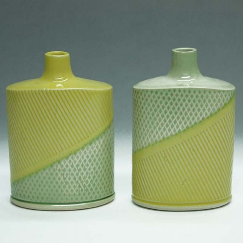 Suleyman Saba SS11+SS12_Squate flasks Yellow and Green h12 x 8 cm h12 x 8-5 cm