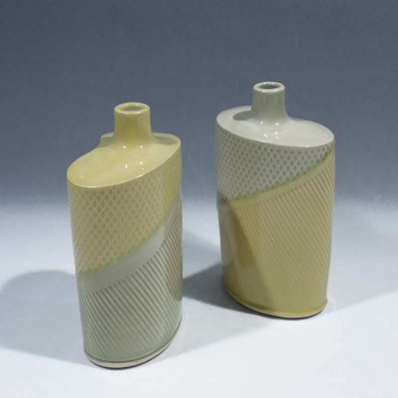 Suleyman Saba SS7&SS8_Yellow and Green flasks h15 x 8-5 cm h15 x 8-5 cm
