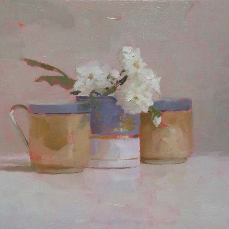 Helen Simmonds Snow Goose and Three Cups oilonboard 18x23cm