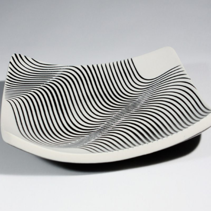 Suleyman Saba 1. Square Slab dish with Black Glaze Wave Pattern, Porcelain