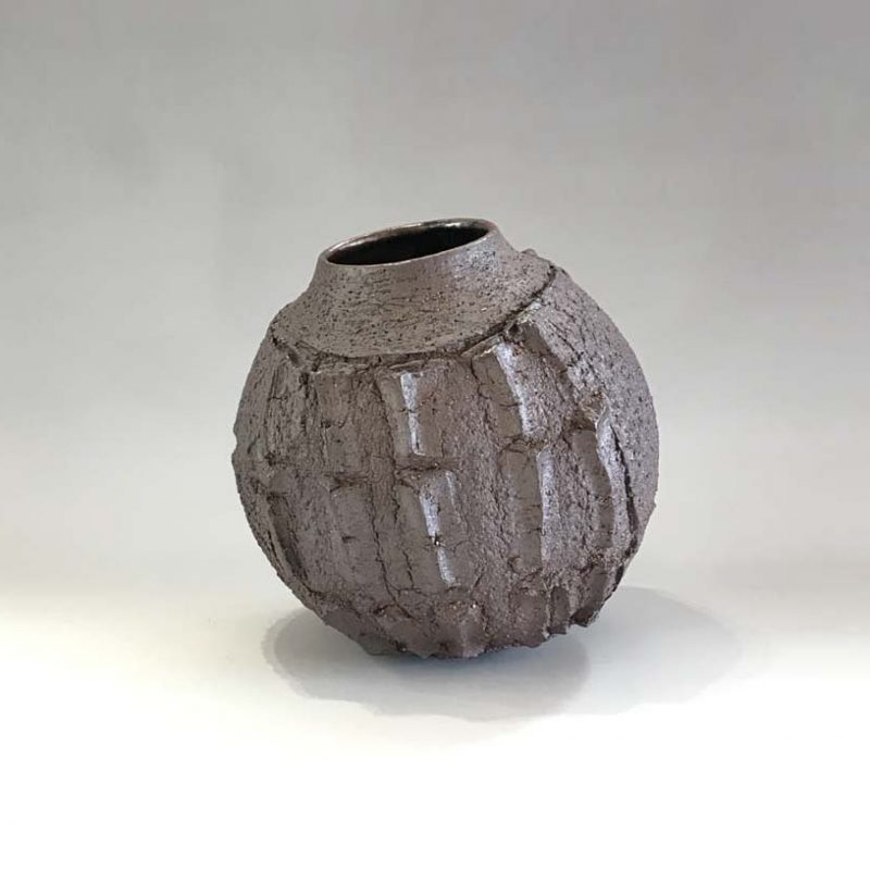 Patricia Shone 12. Peat Cut Pot, Hand formed high iron clay, wood-fired stoneware tenmoku glaze interior h114.5 cm.