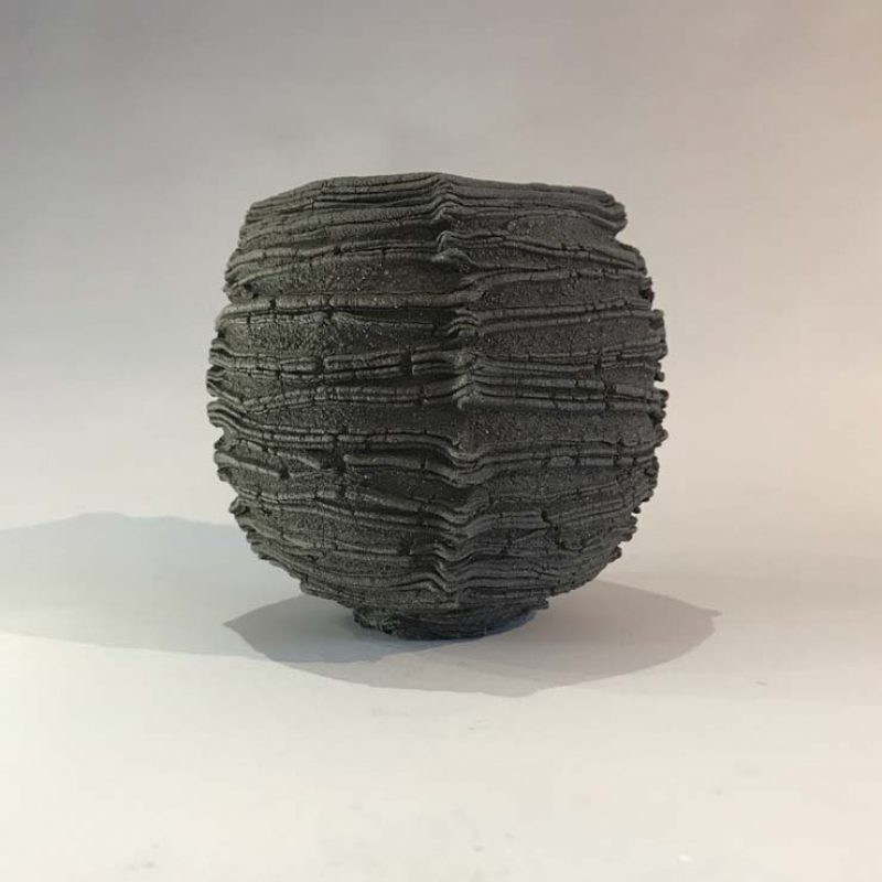 Patricia Shone 13. Small Peat Pot, Hand formed high iron clay, earthenware with glazed interior h10 cm.