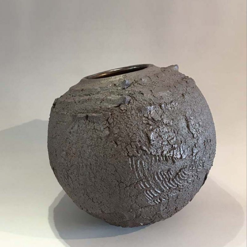 Patricia Shone 23. Earth Jar, Hand formed high iron clay, wood-fired stoneware tenmoku glaze interior h21.5 cm.