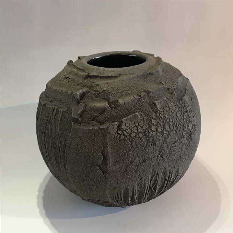 Patricia Shone 25. Earth Jar, Hand formed high iron clay, earthenware with transparent glaze interior h22 cm.