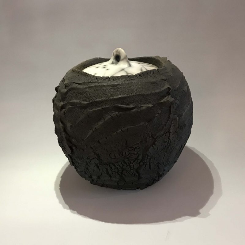 Patricia Shone 5. Lidded Erosion Jar, Hand formed raku-fired earthenware, unglazed h20 cm.