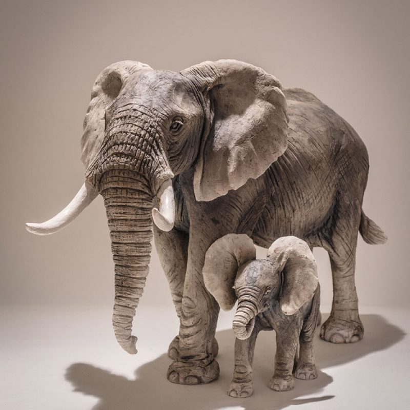 Nick Mackman from left: E5. Large Adult Elephant and E4. Baby Elephant, Both Low-fired ceramic