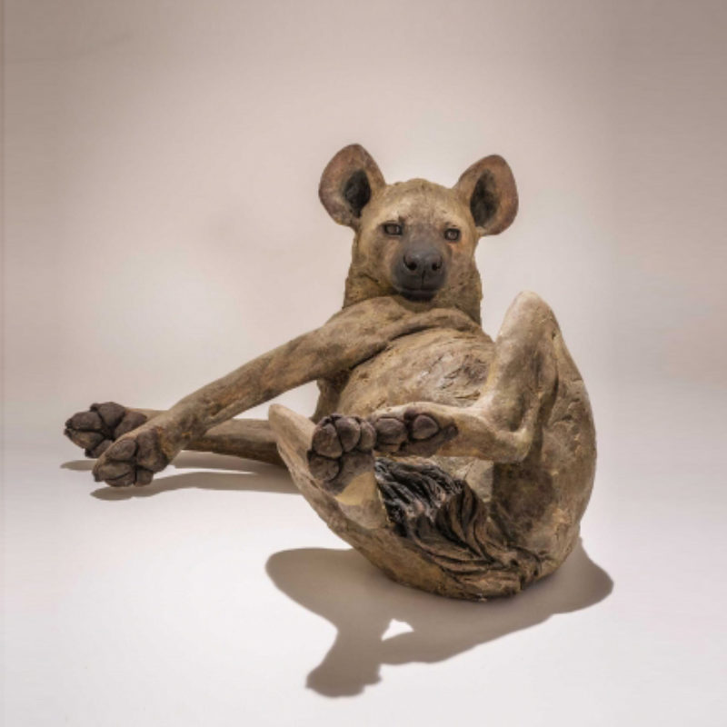 Nick Mackman Hyena 'That Christmas Day Feeling', Low-fired ceramic h20 x 55 cm.