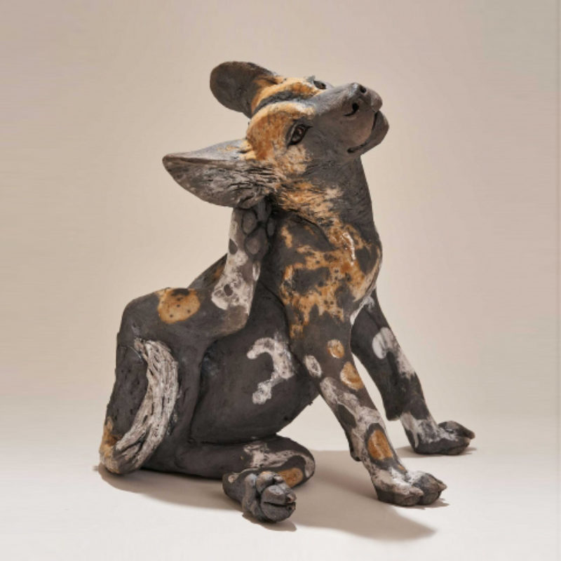 Nick Mackman Wild Dog Pup 'That Feels Good', Low-fired ceramic 30 x 45 cm.