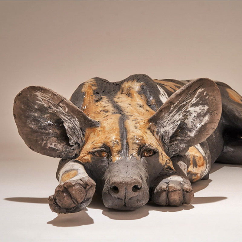 Nick Mackman Wild Dog Pup #7 Low Fired Ceramic 50 x 27 x 10 cm.