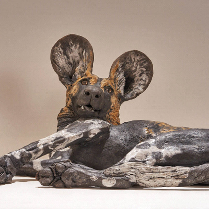 Nick Mackman Wild Dog Pup #8 Low Fired Ceramic 45 x 33 x 21 cm.