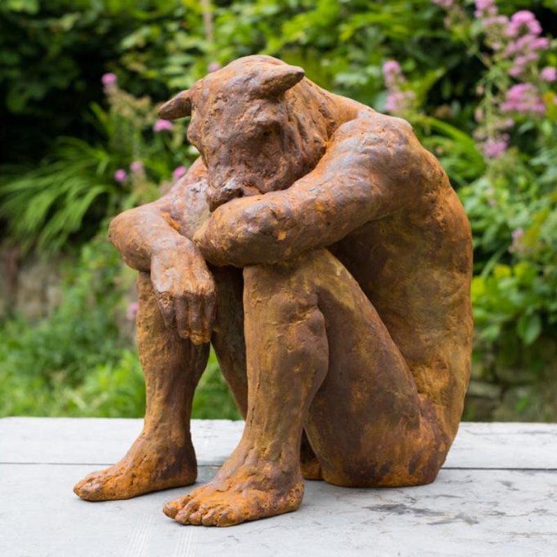 Beth Carter Sitting Minotaur, Iron resin Ed. of 10 40 x 36 x 26 cm.
