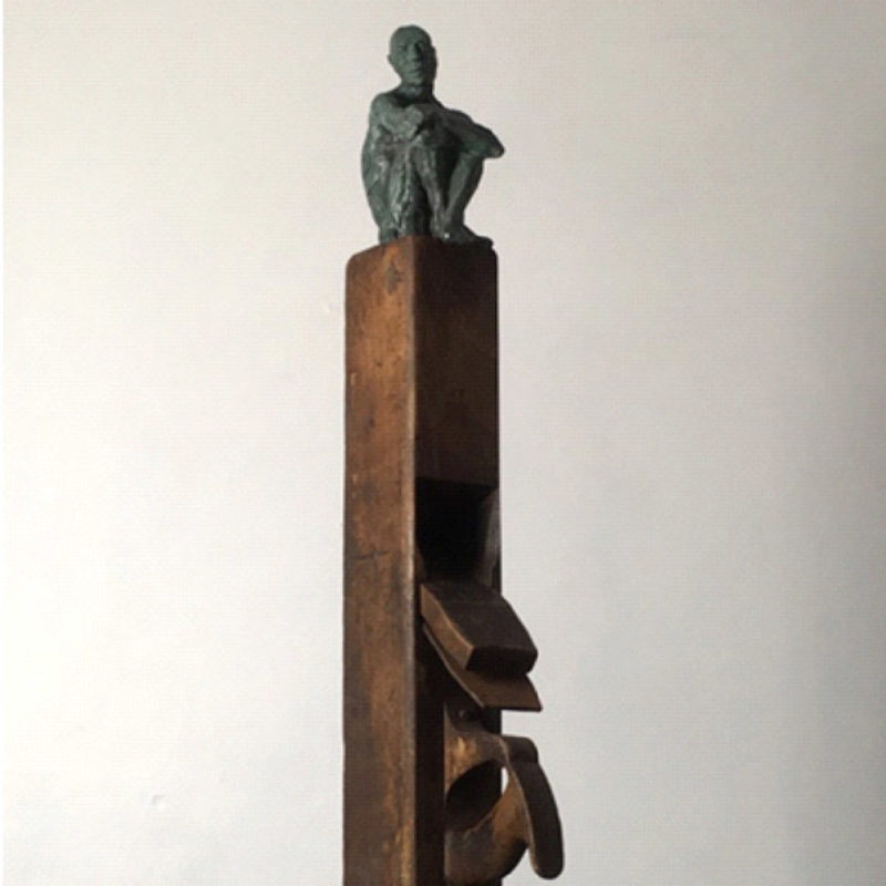 Anna Gillespie Be There at Our Waking, Bronze and Wood Ed. of 9 74 x 14 x 18 cm.
