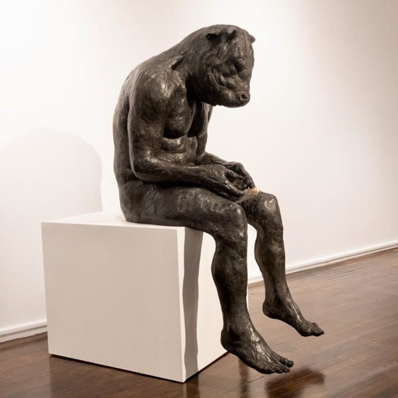 Beth Carter Giant Reading Minotaur, Bronze Ed. of 8 140 x 60 x 84 cm.