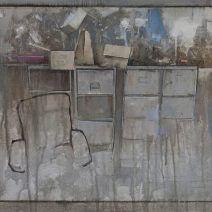 Nathan Ford Office, Oil on Board 49 x 121 cm.