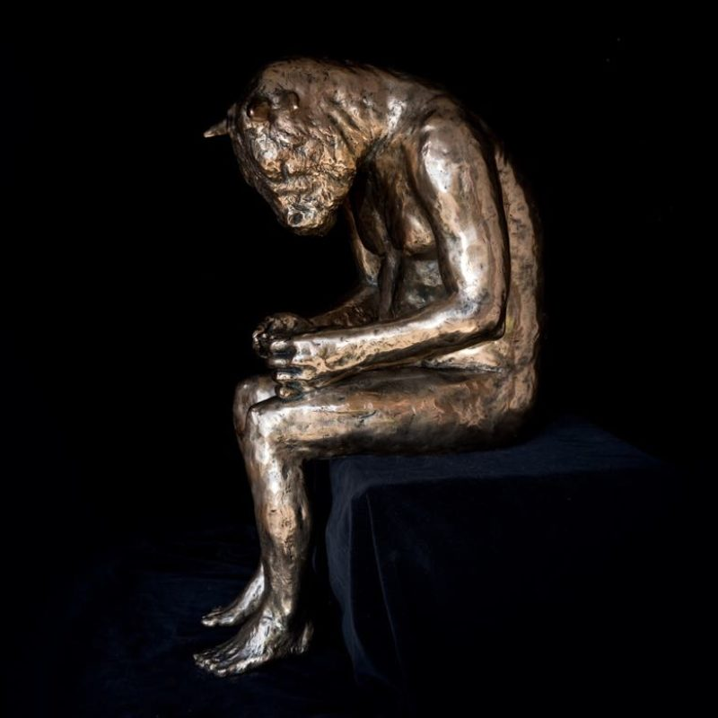 Beth Carter Reading Minotaur, Polished Bronze Ed. of 10 54 x 24 x 30 cm.