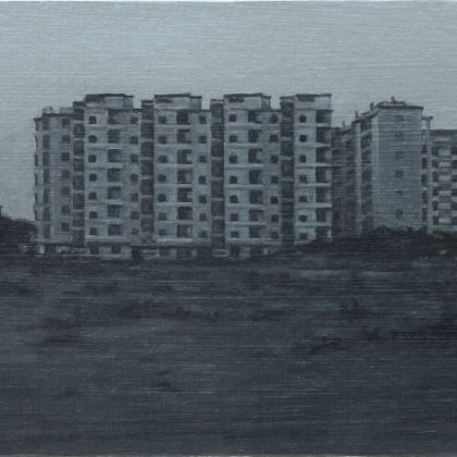 Nicholas Middleton Apartment Block at Dawn, Oil on paper on card 10 x 15 cm.