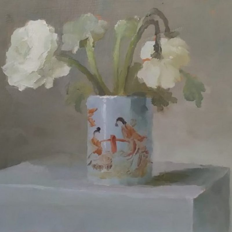 'Going Over Bloom and Chinese Brush Pot' 11.5 x 16.5cm