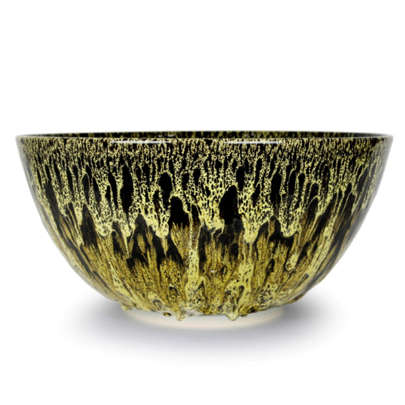 Albert Montserrat Yellow Bowl with Oil Spot Glazes Thrown Porcelain ht. 28 x Ø 48 cm.