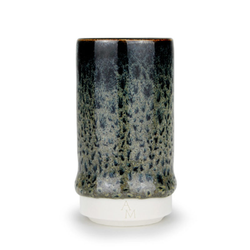 albert-montserrat Small Black-green Cylinder, Glazed Porcelain ht. 9.5 x Ø 5 cm.