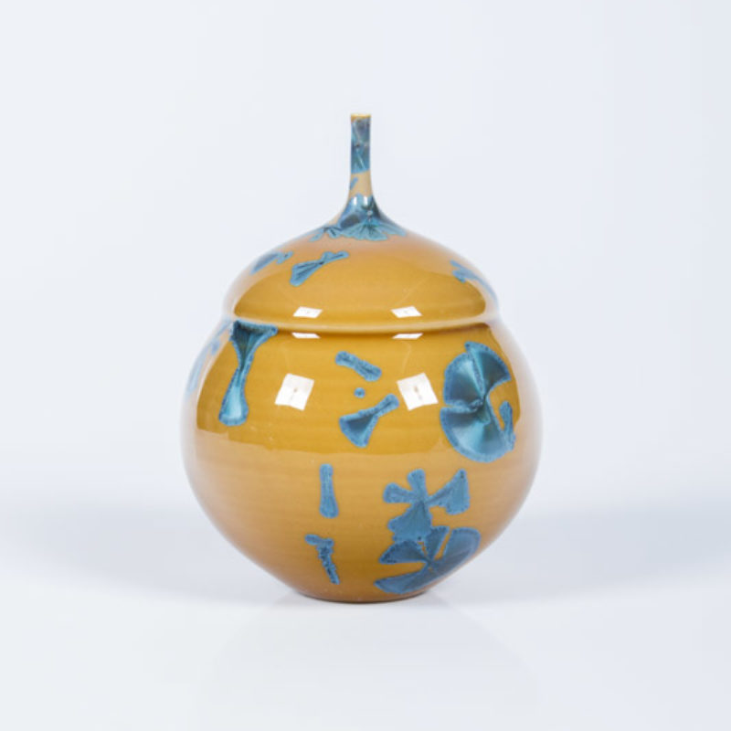 Matt Horne 9. Small Double Bellied Yellow and Blue Vase, Porcelain with Crystalline Glaze h13 x 9 cm.