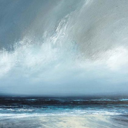 Ruth Brownlee Clearing Rain Sky over Quendale, Mixed media on board