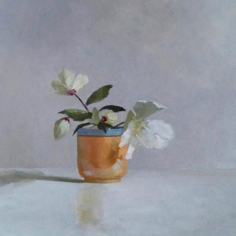 Helen Simmonds Clematis and Blue Rimmed Cup Oil on board 37x41cm