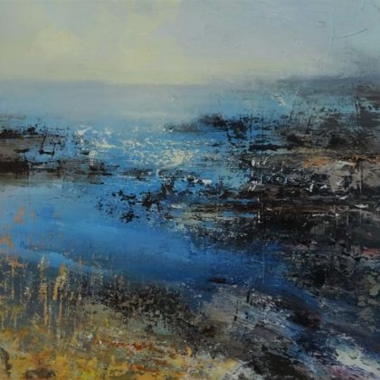 Claire Wiltsher Flight of the Cormorant, Mixed media on canvas 60 x 60 cm.