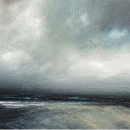 Ruth Brownlee Sky Clearing over Easting, Unst, Mixed media on board