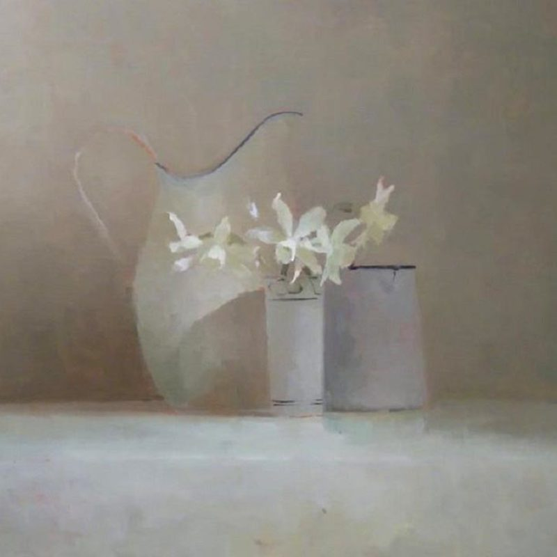 Study of Calne Narcissus, Oil on board 37.5 x 46.5cm.