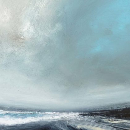 Ruth Brownlee Summer Gale West Sandwick Yell, Mixed media on board