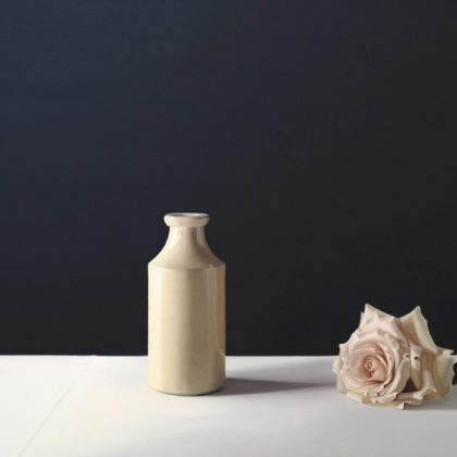 Jo Barrett B12. Still Life with Stoneware Bottle and Rose, Oil on canvas 70 x 100 cm.
