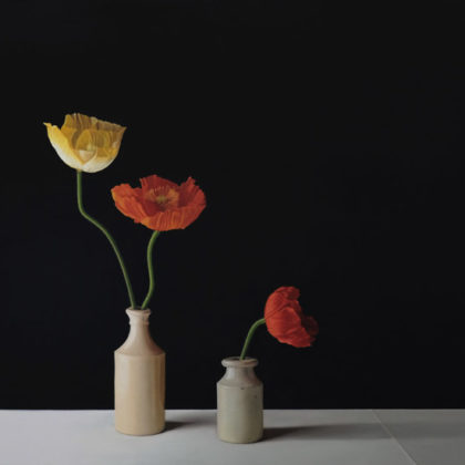 Jo Barrett B15. Still Life with Yellow, Orange and Red Icelandic Poppies, Oil on canvas 80 x 115 cm.