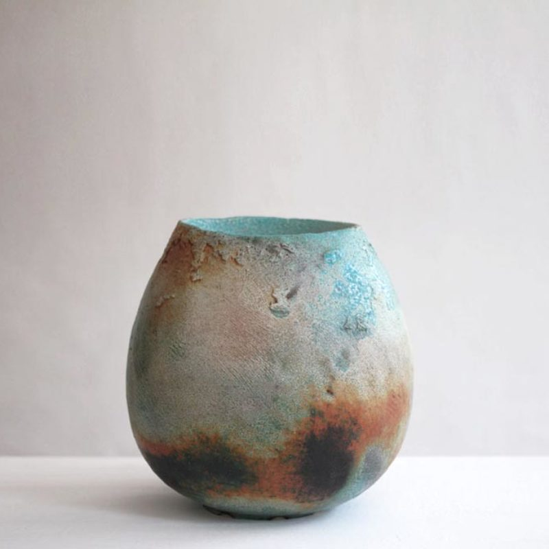 Jack Doherty 15. Wide Rimmed Pod Form with Textured Crank Clay, Soda Fired Porcelain Ht. 35 x 24 cm.