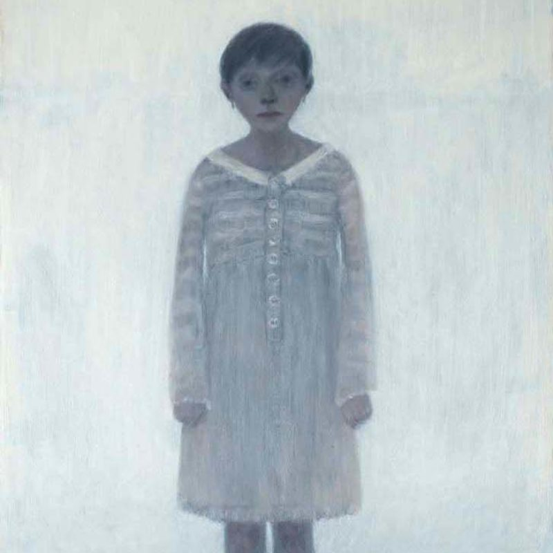 Joy Wolfenden Brown Girl with Closed Hands, Oil on Board 122 x 61 cm.