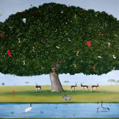 Rebecca Campbell Amongst the Tree of Life, Oil on linen 91 x 122 cm.