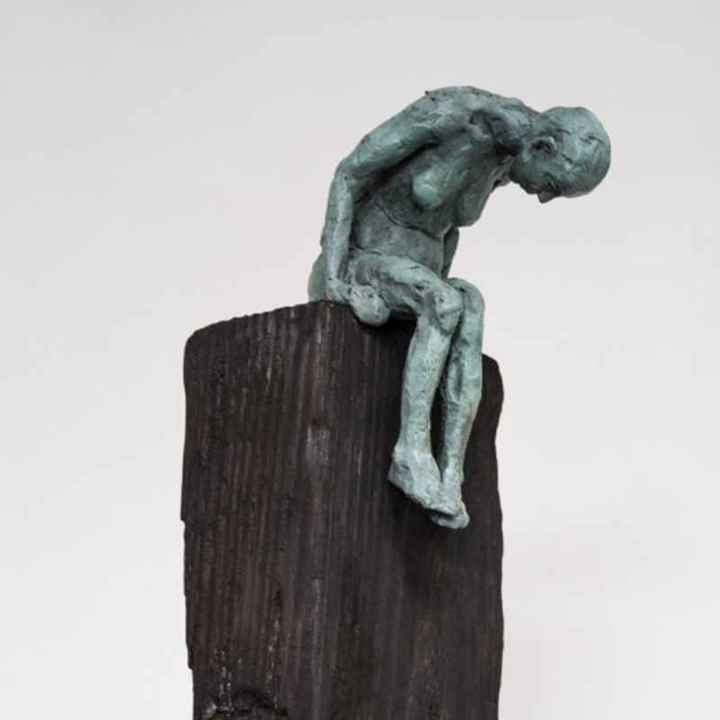 Anna Gillespie, How Far I Dare, Unique Bronze and wood 160 x 23 x 23 cm