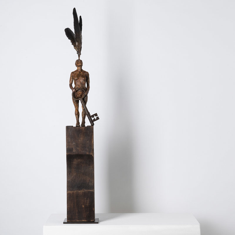 Anna Gillespie, Invisible Door, Unique, Bronze and wood 75 x 12 x 12 cm