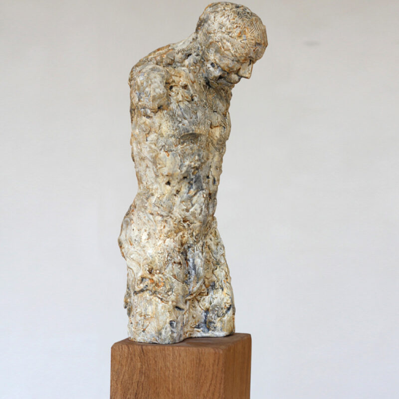 Anna Gillespie Torso, Resin and mixed media 54 x 13.5 x 13.5 cm