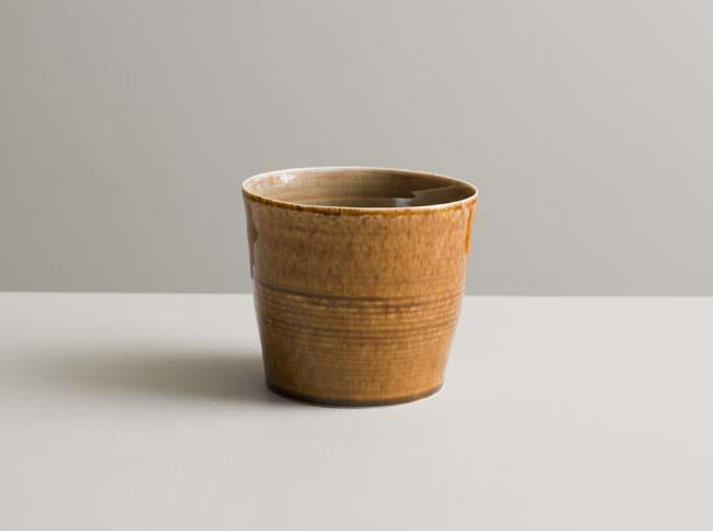 Olen Hsu 9. Large cup in rose-green and mottled-amber glazes Ht. 9 cm