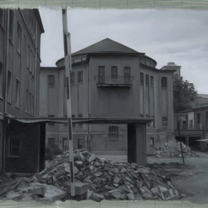 Nicholas Middleton Cruciform Building with Rubble and Raised Barrier, Oil on paper on wood 23 x 30.5 cm
